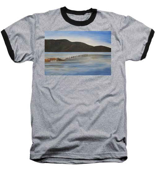 Baseball T-Shirt featuring the painting The Calm Water Of Akyaka by Tracey Harrington-Simpson