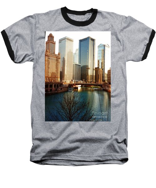 Baseball T-Shirt featuring the photograph The Chicago River From The Michigan Avenue Bridge by Mariana Costa Weldon