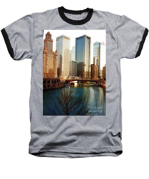 The Chicago River From The Michigan Avenue Bridge Baseball T-Shirt by Mariana Costa Weldon