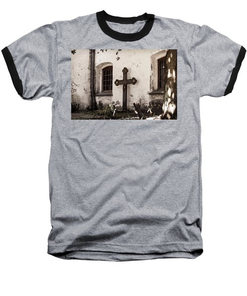 The Church Courtyard Baseball T-Shirt by Bill Howard