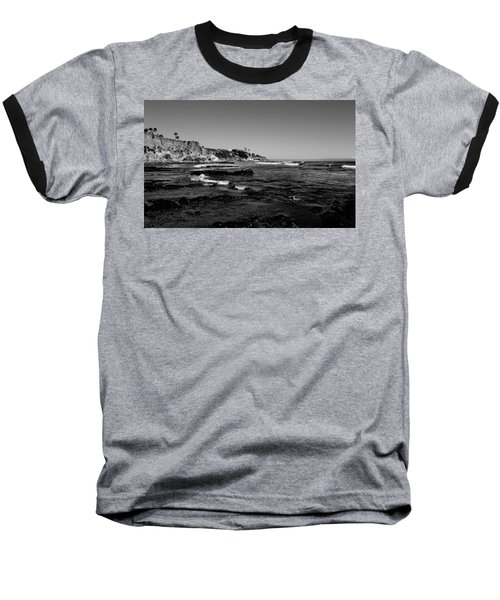 The Cliffs Of Pismo Beach Bw Baseball T-Shirt by Judy Vincent