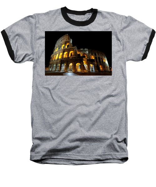 The Colosseum At Night Baseball T-Shirt by Jeremy Voisey