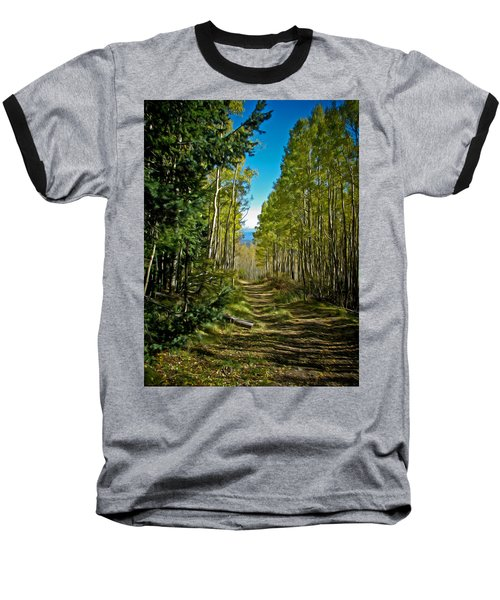 The Cool Path Through Arizona Aspens Baseball T-Shirt by John Haldane