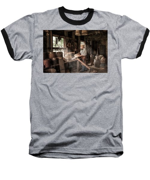 Baseball T-Shirt featuring the photograph The Cooper - 19th Century Artisan In His Workshop  by Gary Heller