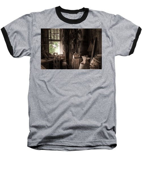 Baseball T-Shirt featuring the photograph The Coopers Window - A Glimpse Into The Artisans Workshop by Gary Heller