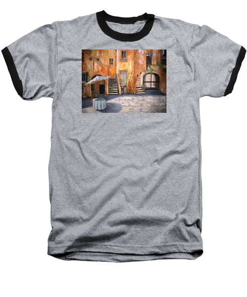 Baseball T-Shirt featuring the painting The Courtyard by Alan Lakin