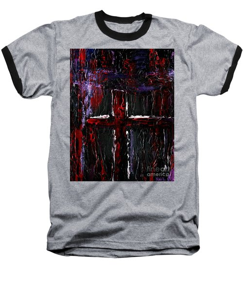 Baseball T-Shirt featuring the painting The Crossroads #1 by Roz Abellera Art