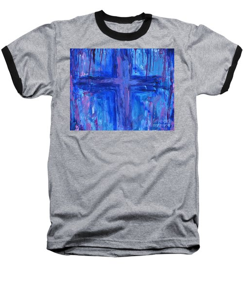 Baseball T-Shirt featuring the painting The Crossroads #2 by Roz Abellera Art