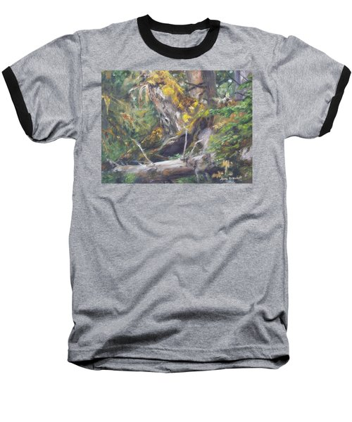 Baseball T-Shirt featuring the painting The Crying Log by Lori Brackett