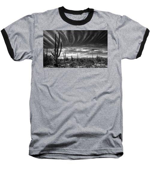 The Desert In Black And White Baseball T-Shirt by Saija  Lehtonen
