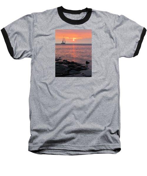 The Edith Becker Sunset Cruise Baseball T-Shirt by David T Wilkinson