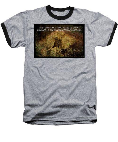 Baseball T-Shirt featuring the digital art The Elephant - Inner Strength by Absinthe Art By Michelle LeAnn Scott