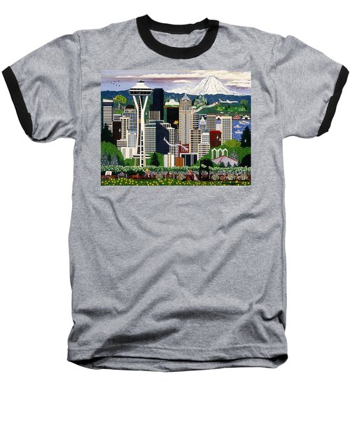 Baseball T-Shirt featuring the painting The Emerald City Seattle by Jennifer Lake