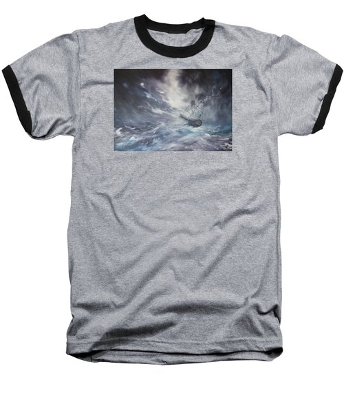 Baseball T-Shirt featuring the painting The Endeavour On Stormy Seas by Jean Walker