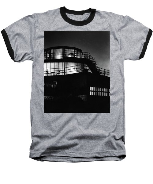 The Exterior Of A Spiral House Design At Night Baseball T-Shirt