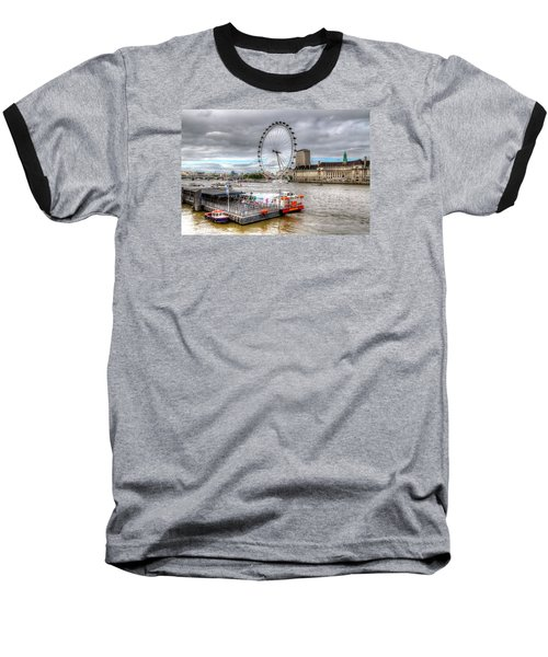 The Eye Across The Thames Baseball T-Shirt by Tim Stanley