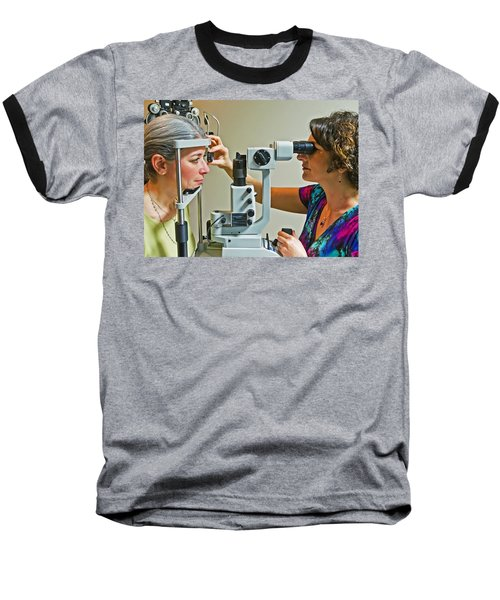 The Eye Doctor Baseball T-Shirt by Keith Armstrong