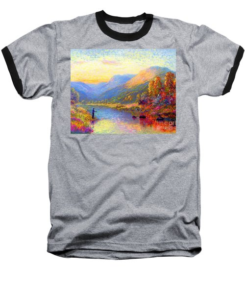 Baseball T-Shirt featuring the painting Fishing And Dreaming by Jane Small