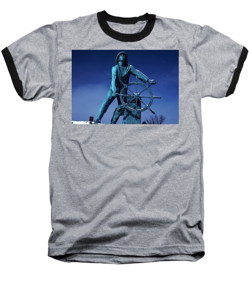 Baseball T-Shirt featuring the photograph The Fisherman Statue Gloucester by Tom Wurl