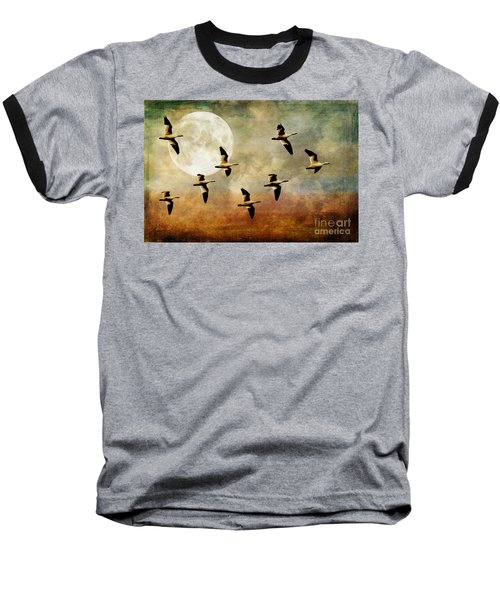 The Flight Of The Snow Geese Baseball T-Shirt by Lois Bryan