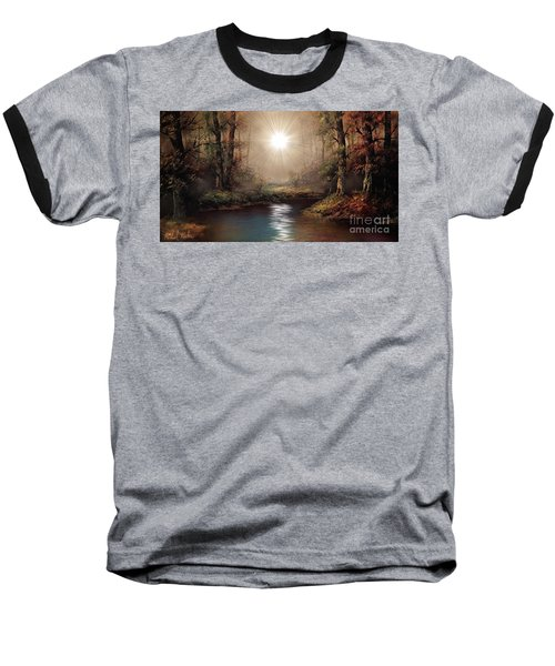 Baseball T-Shirt featuring the painting Sunrise Forest  by Michael Rucker
