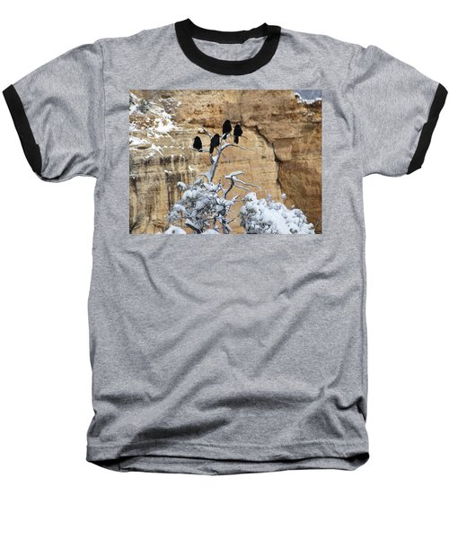 Baseball T-Shirt featuring the photograph The Four Crows by Laurel Powell