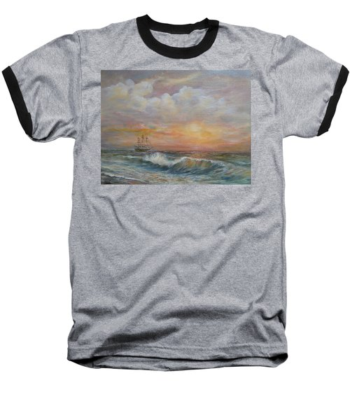 Baseball T-Shirt featuring the painting Sunlit  Frigate by Luczay