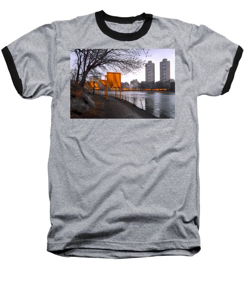 Baseball T-Shirt featuring the photograph The Gates - Central Park New York - Harlem Meer by Gary Heller