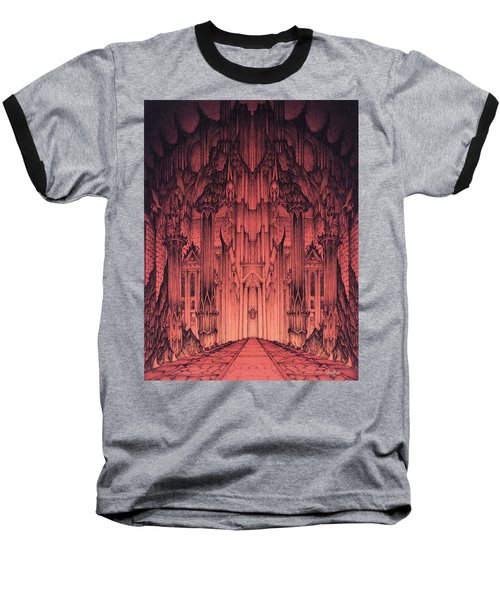 Baseball T-Shirt featuring the mixed media The Gates Of Barad Dur by Curtiss Shaffer