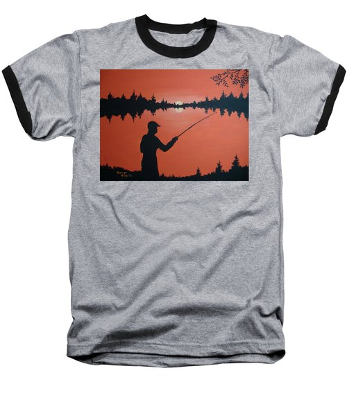 Baseball T-Shirt featuring the painting The Golden Hour by Norm Starks