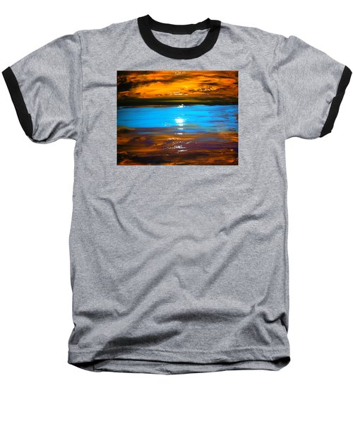 Baseball T-Shirt featuring the painting The Golden Sunset by Kicking Bear  Productions