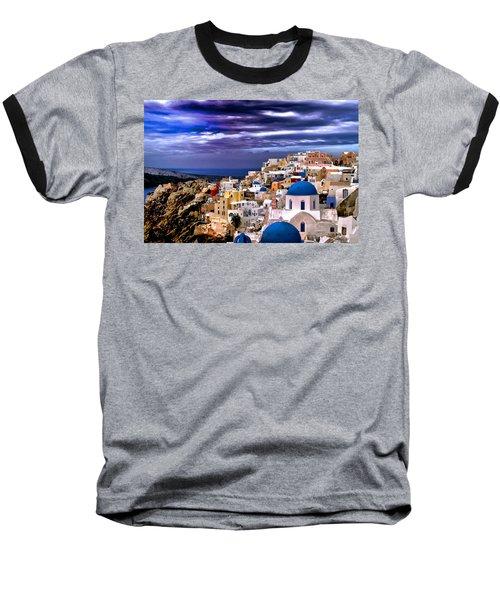 The Greek Isles Santorini Baseball T-Shirt by Tom Prendergast