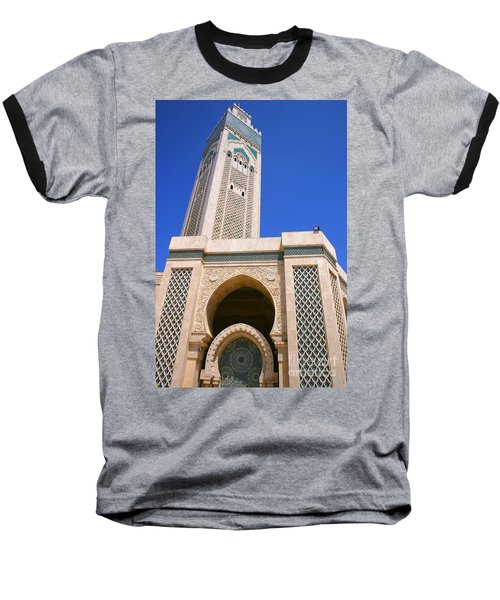 Baseball T-Shirt featuring the photograph The Hassan II Mosque Grand Mosque With The Worlds Tallest 210m Minaret Sour Jdid Casablanca Morocco by Ralph A  Ledergerber-Photography
