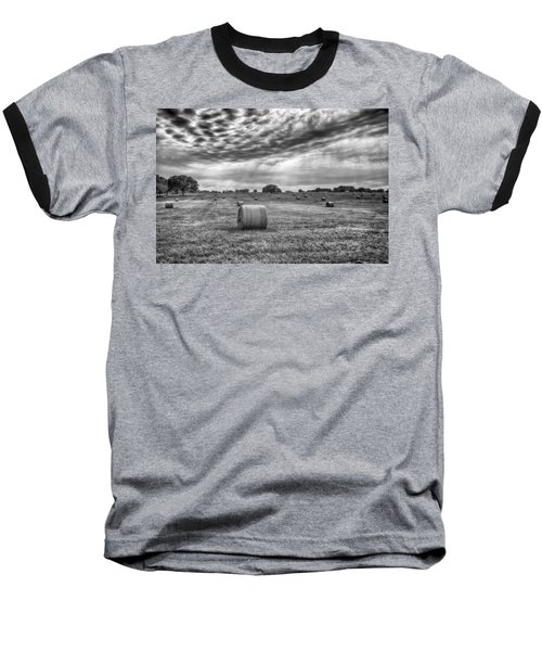 Baseball T-Shirt featuring the photograph The Hay Bails by Howard Salmon