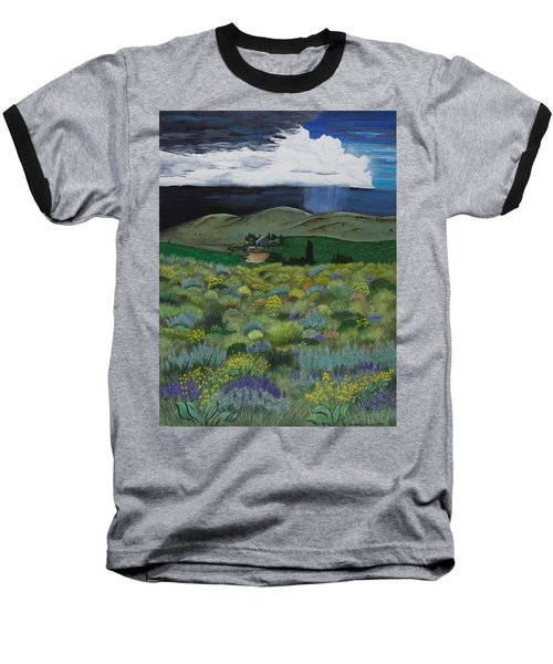 Baseball T-Shirt featuring the painting The High Desert Storm by Jennifer Lake