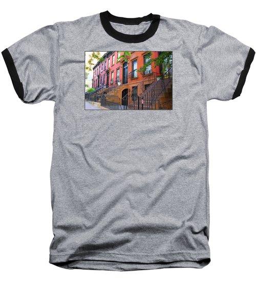 The Historic Brownstones Of Brooklyn Baseball T-Shirt by Dora Sofia Caputo Photographic Art and Design