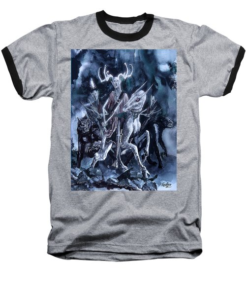 Baseball T-Shirt featuring the painting The Horned King 2 by Curtiss Shaffer