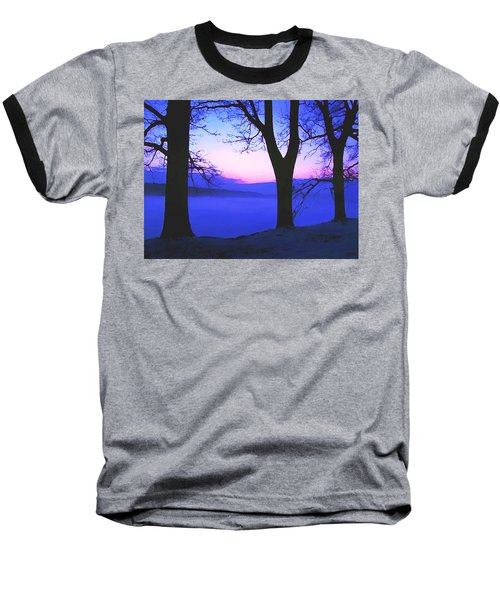 Baseball T-Shirt featuring the painting The Hush At First Light by Sophia Schmierer