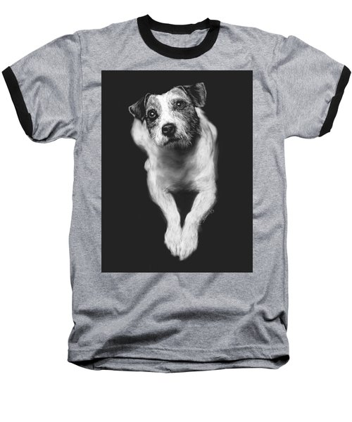 Baseball T-Shirt featuring the drawing The Jack Russell Stare- Got Ball? by Rachel Hames