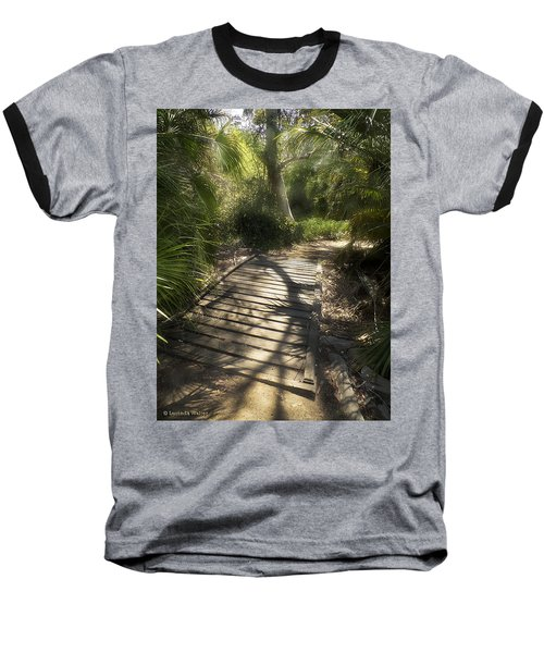 Baseball T-Shirt featuring the photograph The Journey Along The Path Comes With Light And Shadows by Lucinda Walter