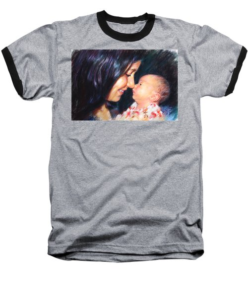 Baseball T-Shirt featuring the drawing The Joy Of A Young Mother by Viola El