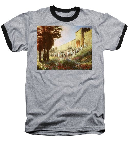 The King Is Coming  Jerusalem Baseball T-Shirt