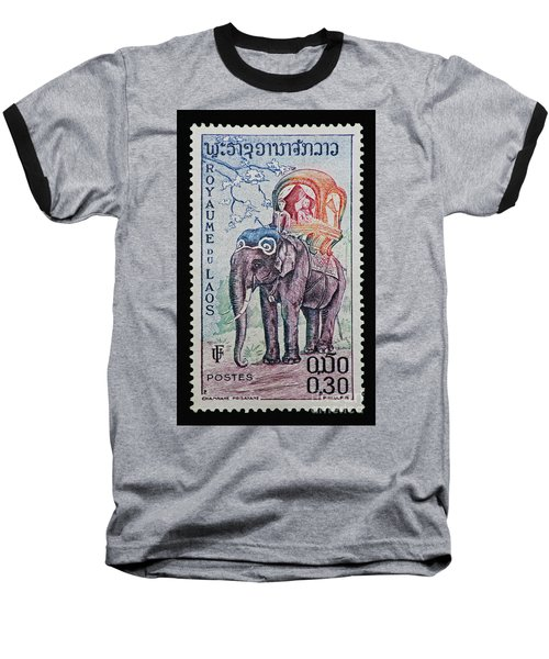 Baseball T-Shirt featuring the photograph The King's Elephant Vintage Postage Stamp Print by Andy Prendy