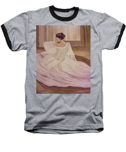 The Lady In White Baseball T-Shirt by Christy Saunders Church