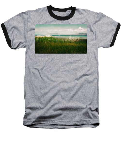 The Lake - Digital Oil Baseball T-Shirt by Mary Machare