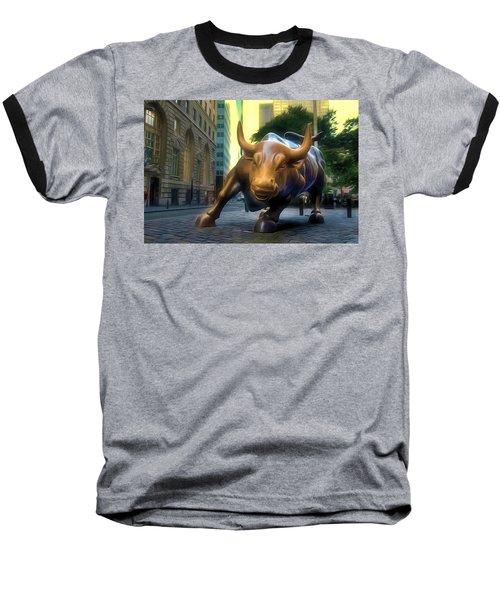 The Landmark Charging Bull In Lower Manhattan 2 Baseball T-Shirt