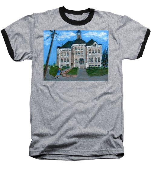 Baseball T-Shirt featuring the painting The Last Bell At West Hill School by Betty Pieper
