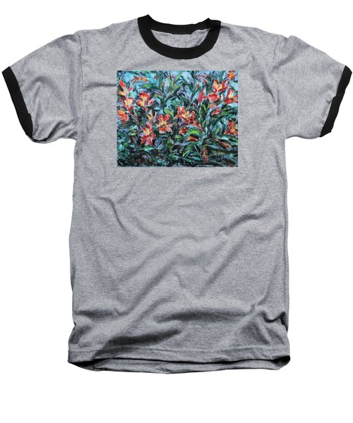 Baseball T-Shirt featuring the painting The Late Bloomers by Xueling Zou