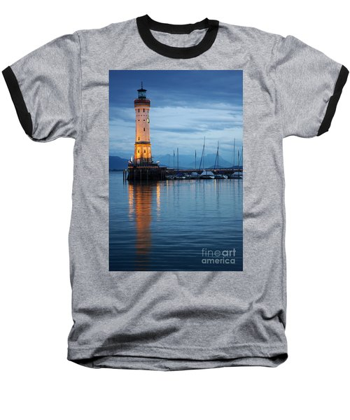 Baseball T-Shirt featuring the photograph The Lighthouse Of Lindau By Night by Nick  Biemans