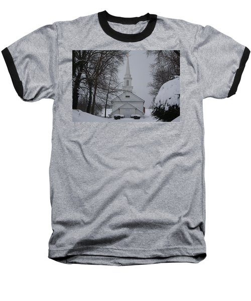Baseball T-Shirt featuring the photograph The Little White Church by Dora Sofia Caputo Photographic Art and Design